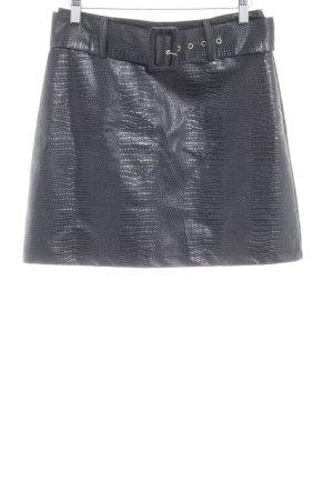 Loavies Falda de cuero de imitación negro estampado de animales