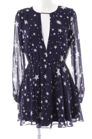 Loavies Langarmkleid dunkelblau-weiß Sternenmuster Casual-Look