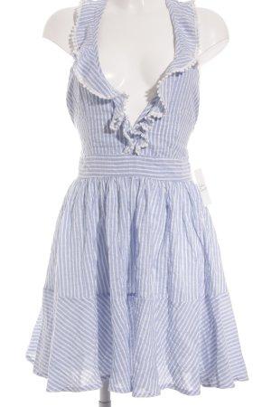 Loavies Minikleid weiß-himmelblau Streifenmuster Romantik-Look