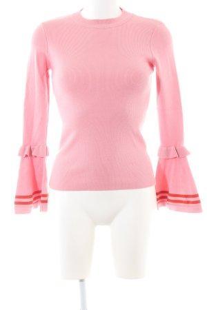 Loavies Rundhalspullover rosa-hellrot schlichter Stil