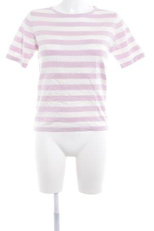 Loavies Strickshirt weiß-blasslila Streifenmuster Casual-Look