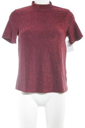 Loavies T-Shirt karminrot-brombeerrot meliert Glitzer-Optik