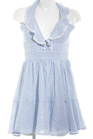 Loavies Trägerkleid himmelblau-weiß Streifenmuster Romantik-Look