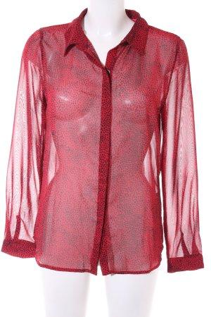 Loavies Transparenz-Bluse schwarz-dunkelrot Farbtupfermuster extravaganter Stil
