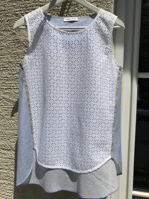 Mouwloze blouse wit-korenblauw Katoen