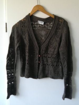 Short Sleeve Knitted Jacket dark brown
