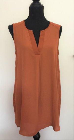 Locker geschnittene Bluse / Top / Tunika orange / ocker / braun