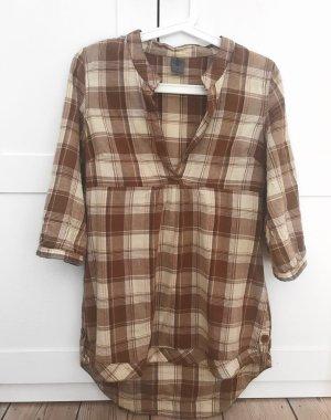 Locker geschnittene Tunika-Bluse mit Karomuster