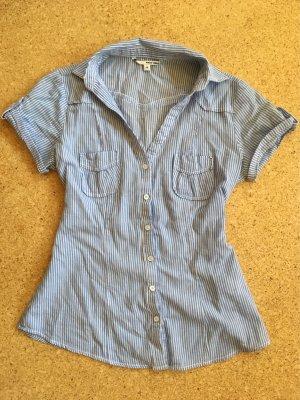 Lockere Bluse in blau/weiß