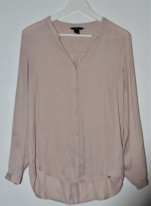 lockere Bluse - Oversized -  Langarm - Vokuhila - Pastell Rosa