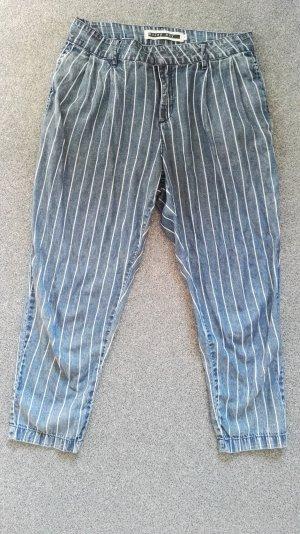 lockere Hose mit Streifen Jeansoptik S