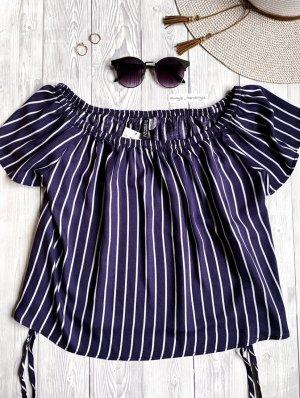 H&M Blusa alla Carmen bianco-blu scuro