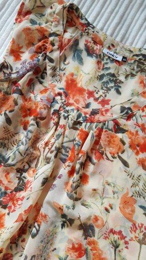 lockere transparente Bluse mit Blumen