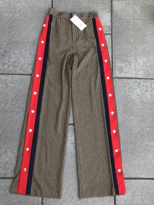 Lockere Zara Woman Hose XS 34/36 kariert mit Seitenstreifen