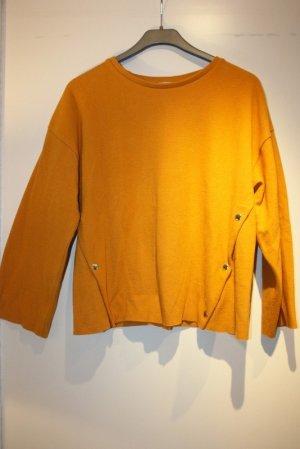 Zara Trafaluc Maglione oversize arancione scuro-color cammello Tessuto misto
