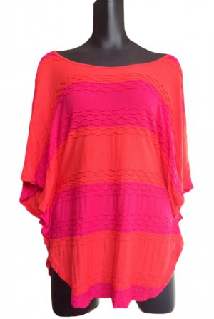 Vero Moda Long Shirt bright red-pink viscose