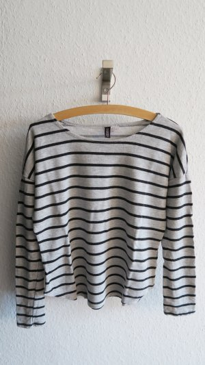 lockeres gestreiftes Shirt Basic grau schwarz 36/38