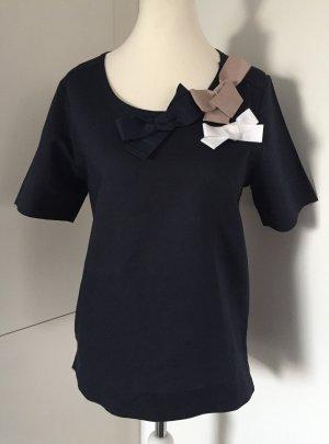 Lockeres Kurzarm-Shirt in Dunkelblau mit Schleifen-Details von Mango - Größe M