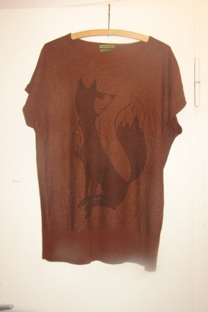 lockeres rotbraunes Public Shirt mit Fuchsmotiv S/M
