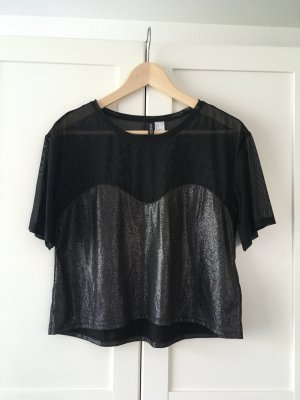 lockers cropped shirt, schwarz glitzernd H&M