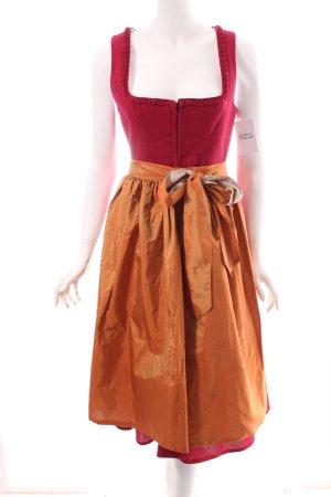 Lodenfrey Dirndl dunkelrot-orange florales Muster klassischer Stil