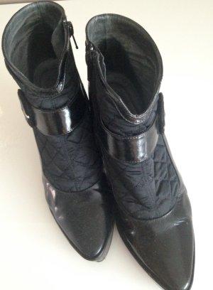 Lodi - schwarze Ancle-Boots, Gr. 38 im Material-Mix Lackleder u. Stepp