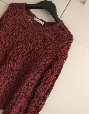 Löcher Pulli Zara Knit Weinrot