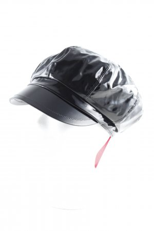 Loevenich Baker's Boy Cap black wet-look
