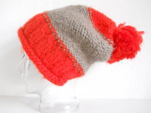 Loevenich Knitted Hat orange-grey