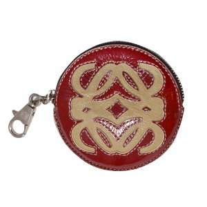Loewe Key Chain dark red-beige leather