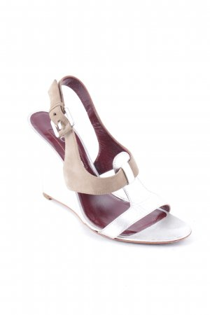 Loewe Wedge Sandals silver-colored-light brown color blocking elegant