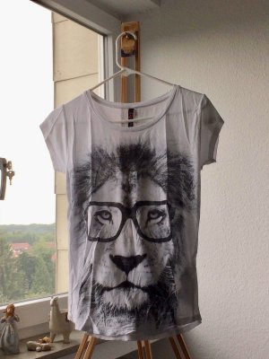 Fishbone Print Shirt white-black