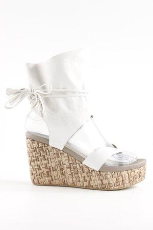 Logan Wedges Sandaletten weiß-beige 90ies-Stil