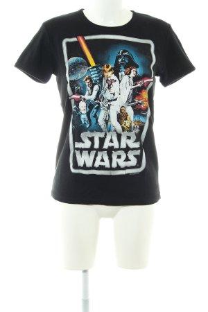 Logoshirt T-Shirt schwarz Motivdruck Casual-Look