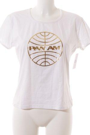 Logoshirt T-Shirt weiß-goldfarben Schriftzug gedruckt Casual-Look