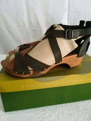 Loints of Holland High-Heeled Sandals brown-dark brown leather