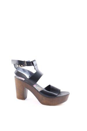 Lois Jeans Plateau-Sandaletten schwarz-braun Street-Fashion-Look