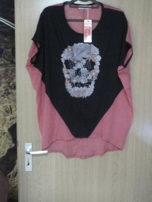 Camiseta estampada negro-rosa