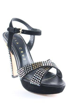 Lola cruz High Heel Sandaletten schwarz-goldfarben extravaganter Stil