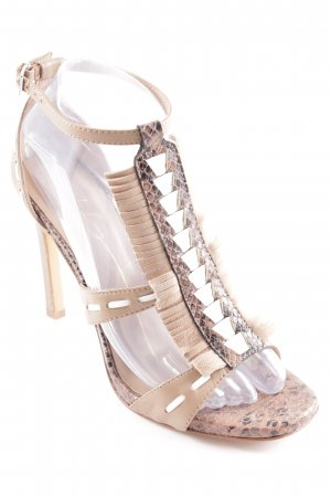 Lola cruz T-Strap Sandals white-light brown animal pattern casual look