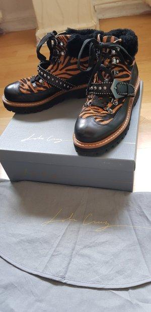 Lola cruz Lace-up Booties black-cognac-coloured