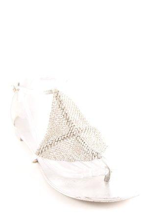 Lola cruz Sandalo infradito con tacco alto argento elegante