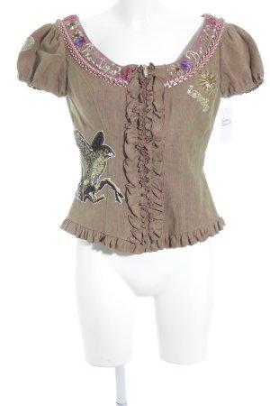 Lola Paltinger Folkloristische blouse lichtbruin country stijl