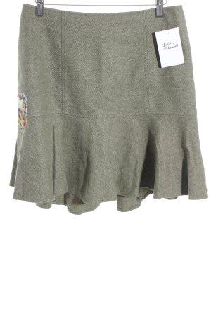 Lola Paltinger Jupe en laine vert clair-vert gazon moucheté style campagnard