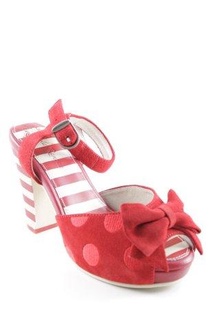 Lola ramona High Heel Sandaletten rot-wollweiß Mustermix Rockabilly-Look