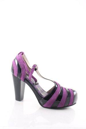 Lola ramona High Heels schwarz-lila Streifenmuster Materialmix-Look