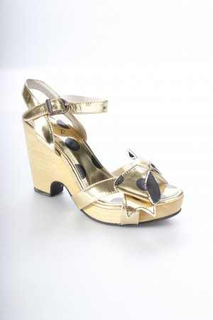Lola ramona Wedge Sandals gold-colored-black spot pattern retro look