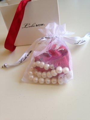 LOLABOW Perlenkette mit rotem Satinband