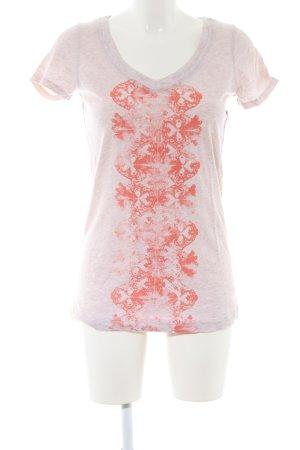 Lole T-shirt col en V gris clair-rouge motif abstrait style décontracté