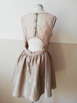 Lolita Kleid rückenfrei beige Gold Spitze Gr. UK 14 EUR 42 D 40 M L neu Herz elegant